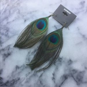 Express peacock feather earrings, NWT